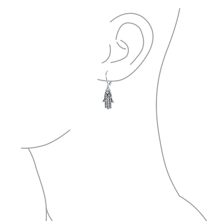 Hamsa Hand Floral Filigree Leverback Dangle Earrings Sterling Silver