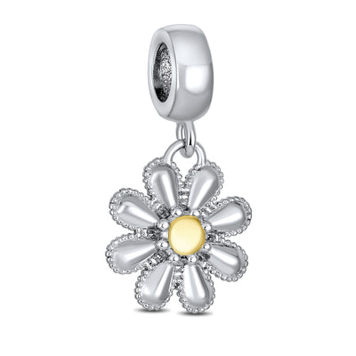 Daisy Dangle Bead Charm Mother 2 Tone Gold Plated Sterling Silver