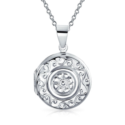 Round Circle Boho Fashion Locket Hold Pictures For Women Photo Pendant