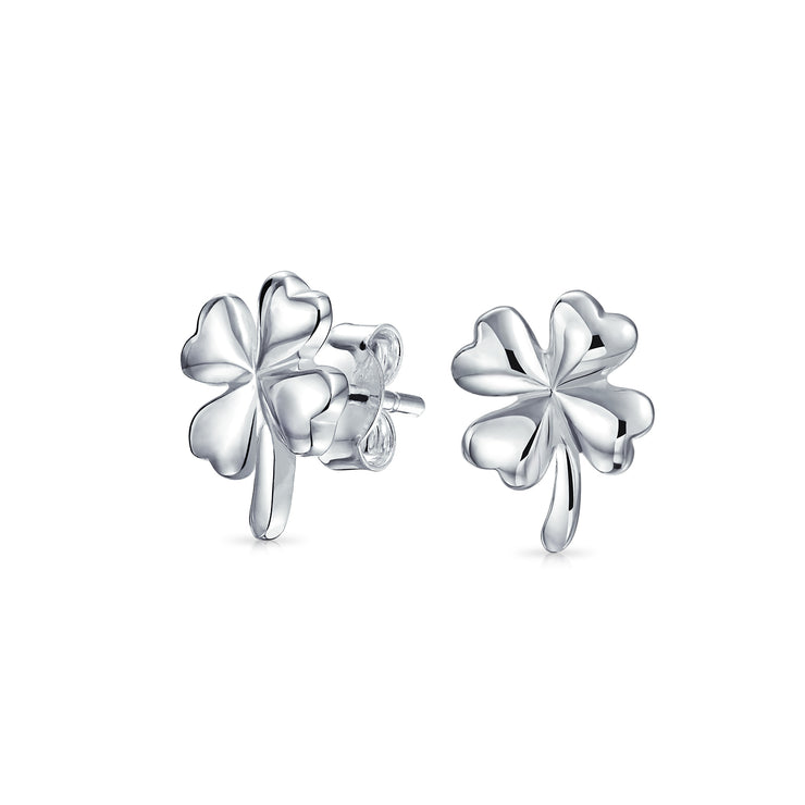 Good Luck Celtic Four Leaf Clover Stud Earrings Sterling Silver 11MM