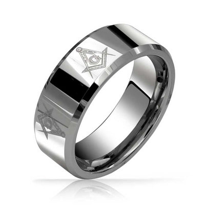 Square & Compass Freemason Masonic Wedding Band Tungsten Rings 8mm