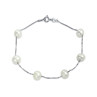 Minimalist Station Tin Cup White Freshwater Cultured Pearl Bracelet
