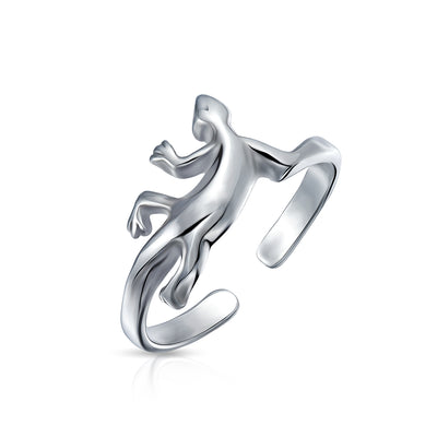 Garden Lizard Shape Midi Toe Ring 925 Silver Sterling Adjustable