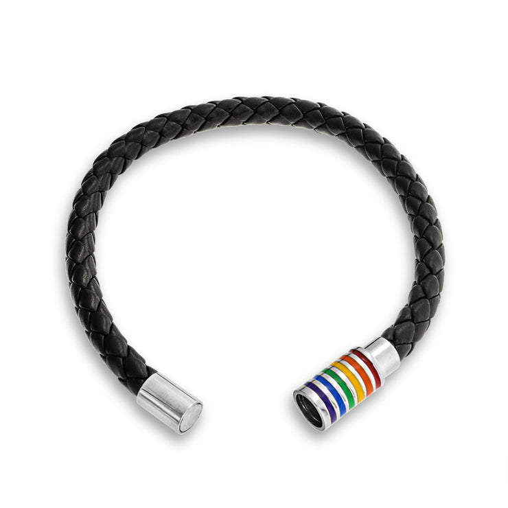 Gay Pride Black Braided Leather Bangle Bracelet Stainless Magnetic