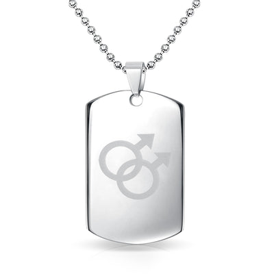 Gay Pride Dog Tag Pendant Necklace For Men Interlocking Double Male