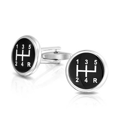 Race Car Driver Black Vehicle Gear Shift Shirt Cufflinks Gift Steel