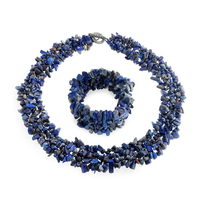 Blue Lapis Stone Chips Statement Bib Necklace Stretch Bracelet Set