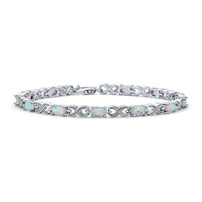 White Created Opal Infinity Bracelet 925 Silver October Birthstone