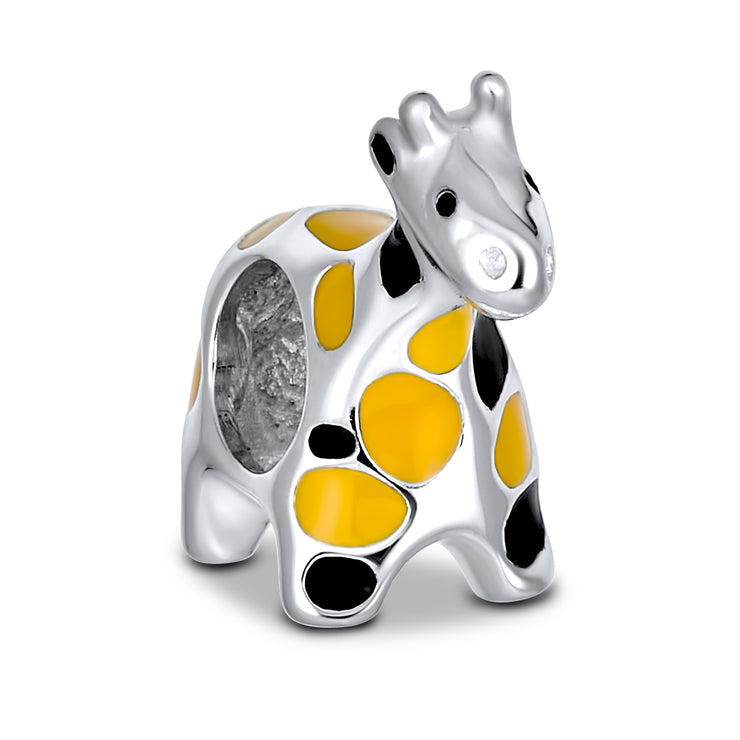 Orange Black Giraffe Jungle Charm Bead 925 Sterling Silver European