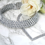 4 Row Crystal Wedding Prom Choker 1 Inch Wide Statement Necklace