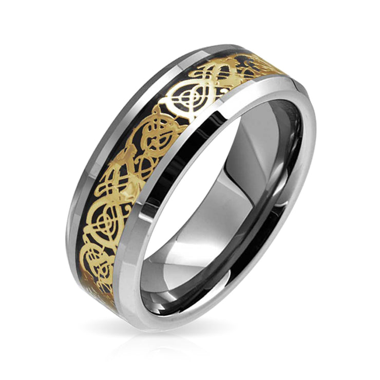 Mens Golden Black Celtic Knot Dragon Inlay Wedding Band Tungsten Ring