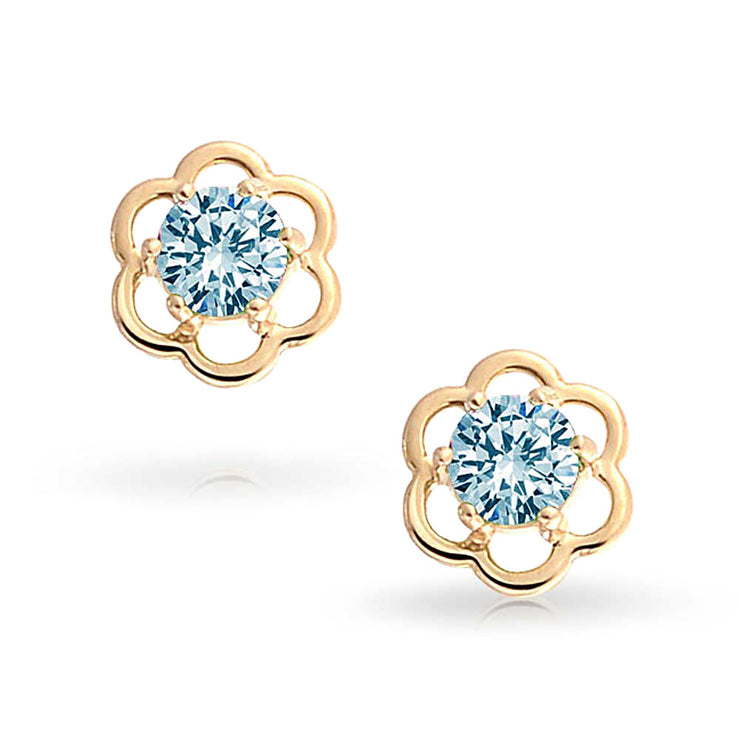 Light Blue CZ Flower Stud Earrings Topaz 14K Real Gold Screwback