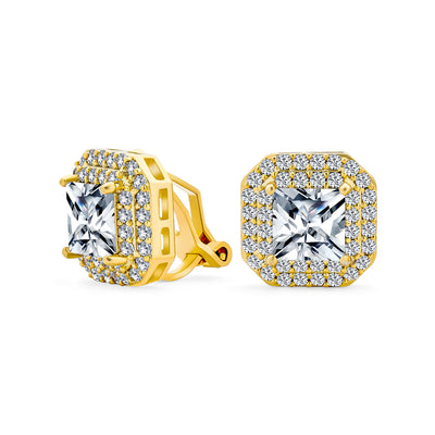 Bridal Square Princess Cut Halo AAA CZ Clip On Earrings Gold Plated