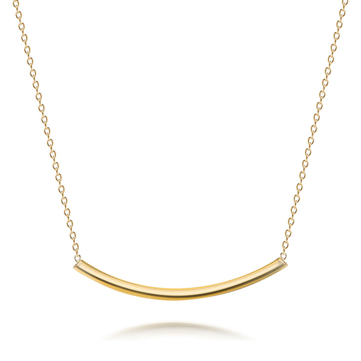 Sideways Horizontal Bar Pendant Necklace 14K Gold Plated Sterling