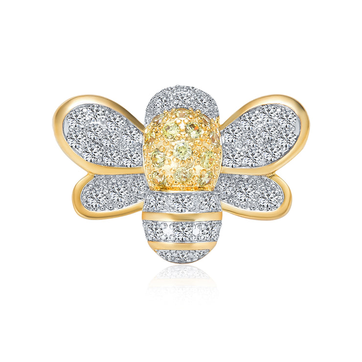 Two Tone Bumble Bee Yellow White Cubic Zirconia Pave CZ Brooch Pendant