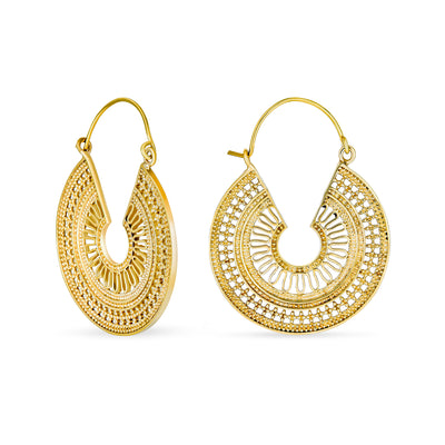 Boho Bali Style Filigree Crescent Round Hoop Earrings Gold Plated
