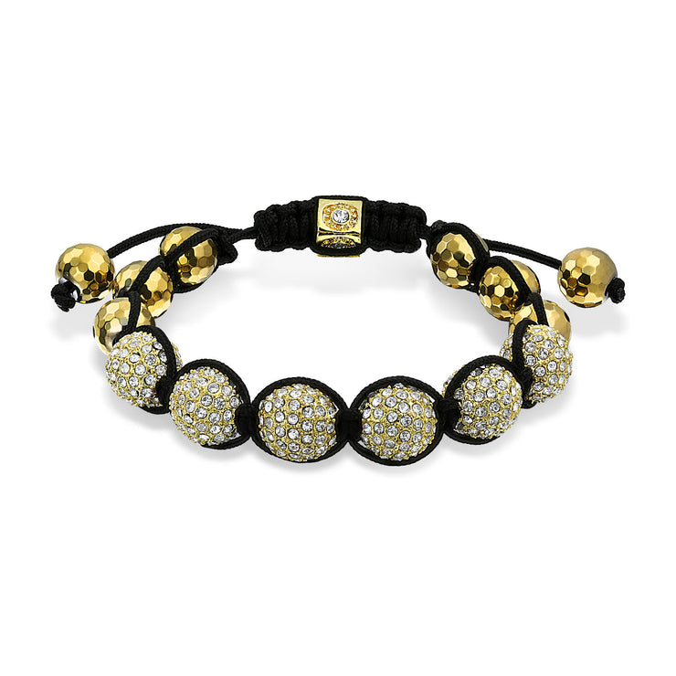 Gold Tone Pave Crystal Ball Shamballa Inspired Bracelet Black Cord