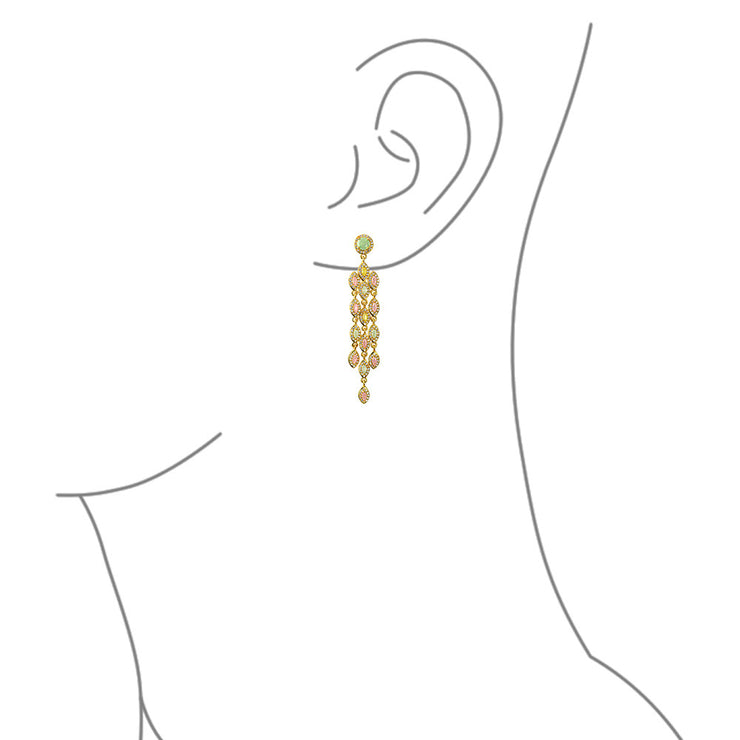Pink Green Golden Marquise Waterfall CZ Earrings Gold Plated
