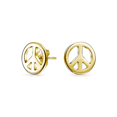 World Peace Symbol Stud Earrings 14K Gold Plated 925 Sterling Silver