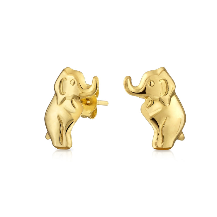 Real 14K Yellow Gold Wise Safari Wildlife Elephant Stud Earrings