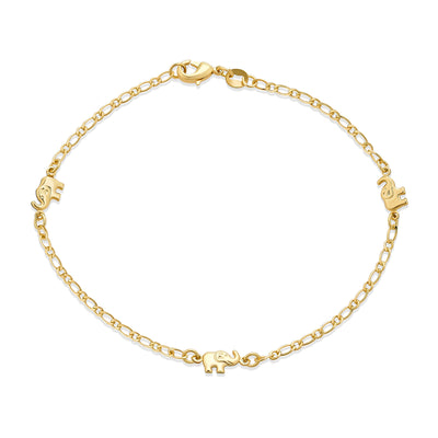 Three Lucky Elephant Charm Anklet Ankle Bracelet Gold Plated