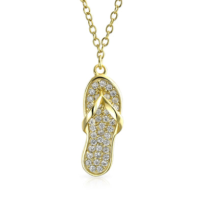Flip Flop Sandal Pendant CZ 14K Gold Plated Sterling Silver Necklace