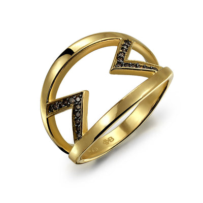 Black Two Tone CZ Arrow Band Ring Gold Plated 925 Sterling Silver