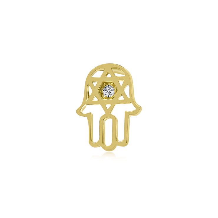 Judaic CZ Hamsa Star Of David Bat Mitzvah Cartilage Earring 14K Gold