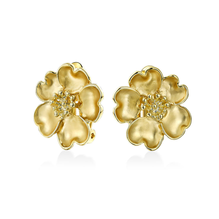 Heart Petals Flower CZ Clip On Earring Ears Matte Gold Plated Brass