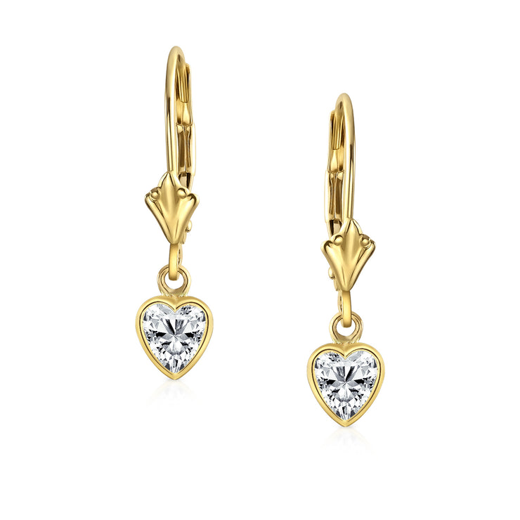 REAL 14K Yellow Gold Heart Cubic Zirconia CZ Leverback Earrings