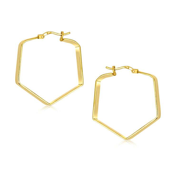 Engrave Flat Tapered Hexagon Hoop Earrings Gold Plated Sterling 1.25 Inch