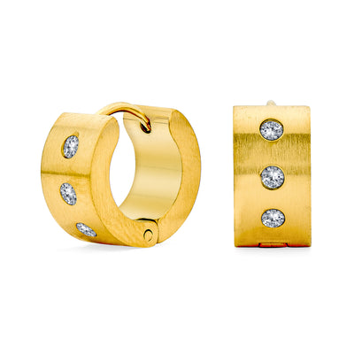Row Cubic Zirconia Hoop Earrings Gold Plated Stainless Steel