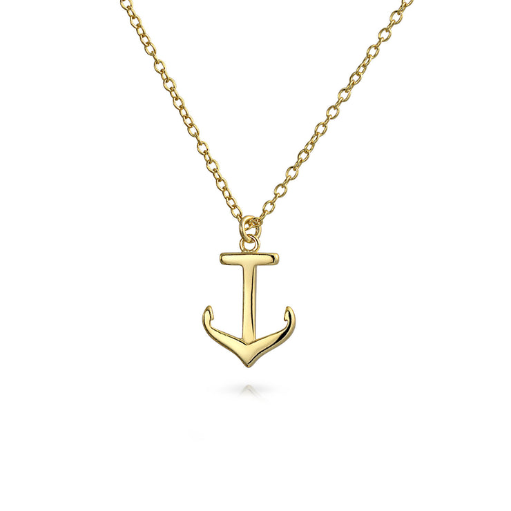 Boat Anchor Ship Pendant Necklace 14K Gold Plated Sterling Silver