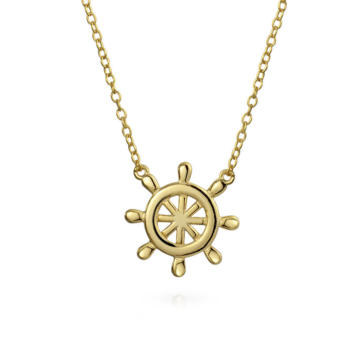 Anchor Two Layering Pendant Necklace Gold Plated Sterling Silver