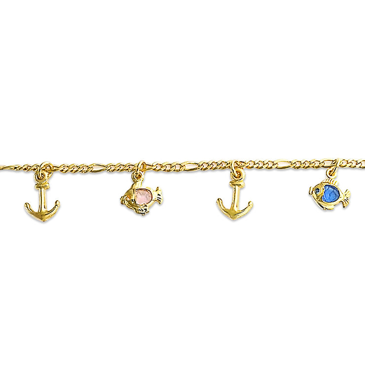 Vacation Anchor Fish Dangle Charm Chain Bracelet Gold Plated
