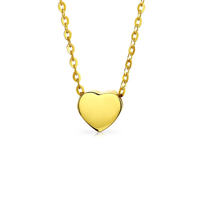 Heart Shape 14K Yellow REAL Gold Shinny High Station Pendant Necklace