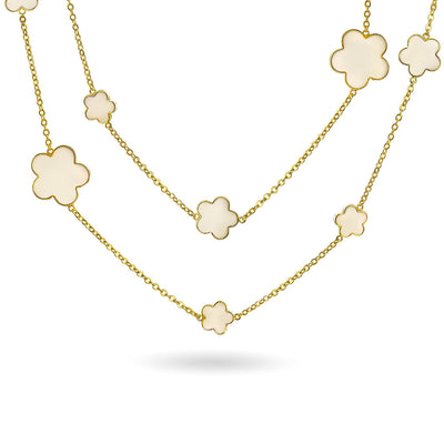 White Cream Clover Flower Long Gold Plated Chain Wrap Layer Necklace