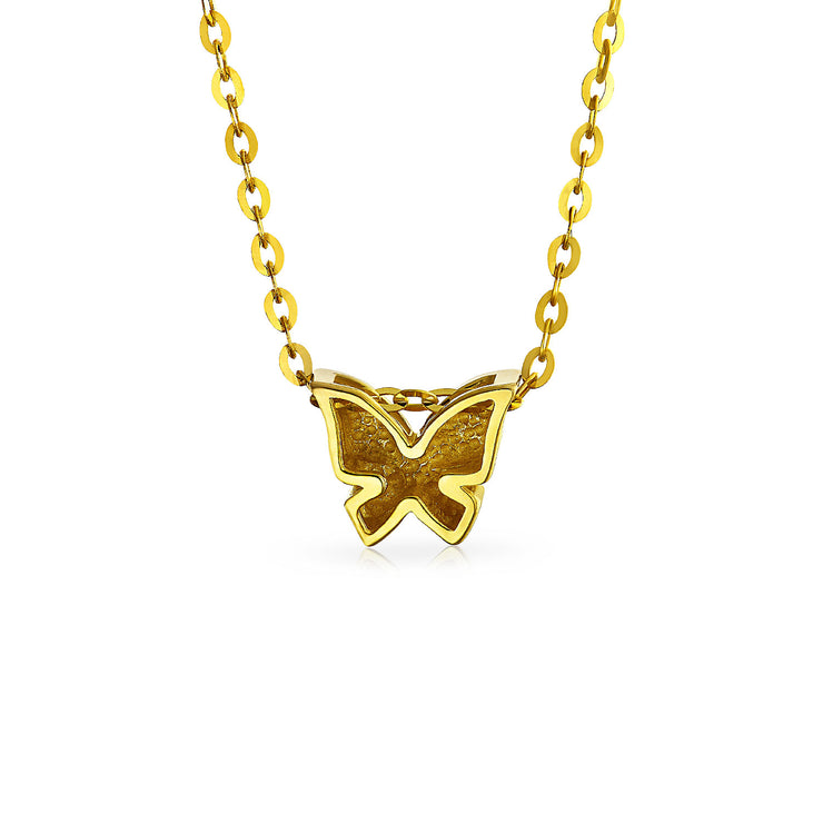 Butterfly 14K Yellow REAL Gold High Station Pendant Necklace