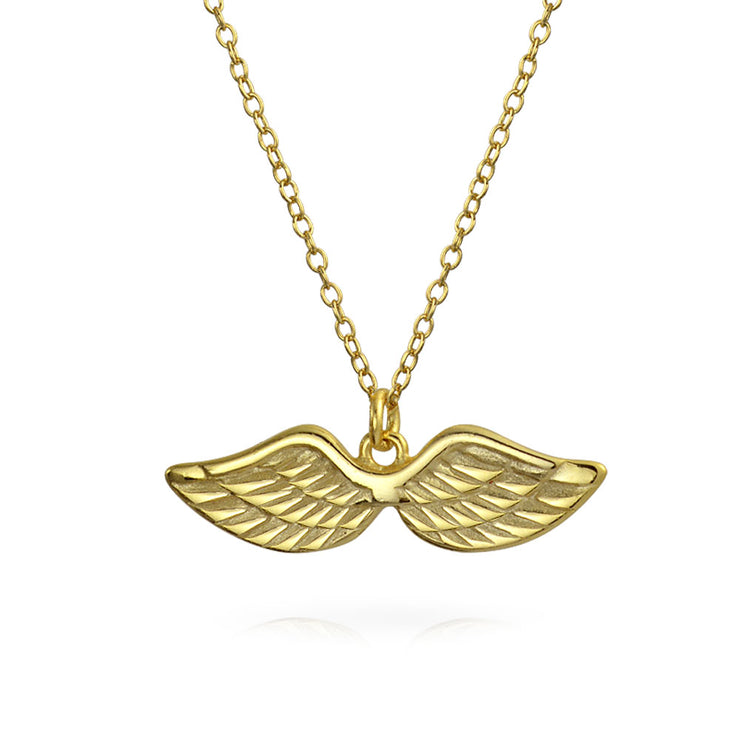 Solitaire Angel Wing Pendant Necklace 14K Gold Plated Sterling Silver