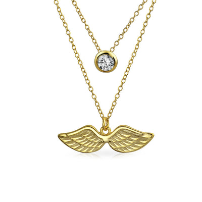 Solitaire Angel Wing Pendant Necklace Gold Plated Sterling Silver