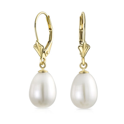 Real 14K Yellow Gold Off Freshwater Cultured Pearl Teardrop Earrings