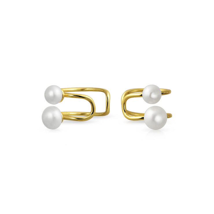Spiral Freshwater Pearl Cartilage Earring Gold Plated Sterling
