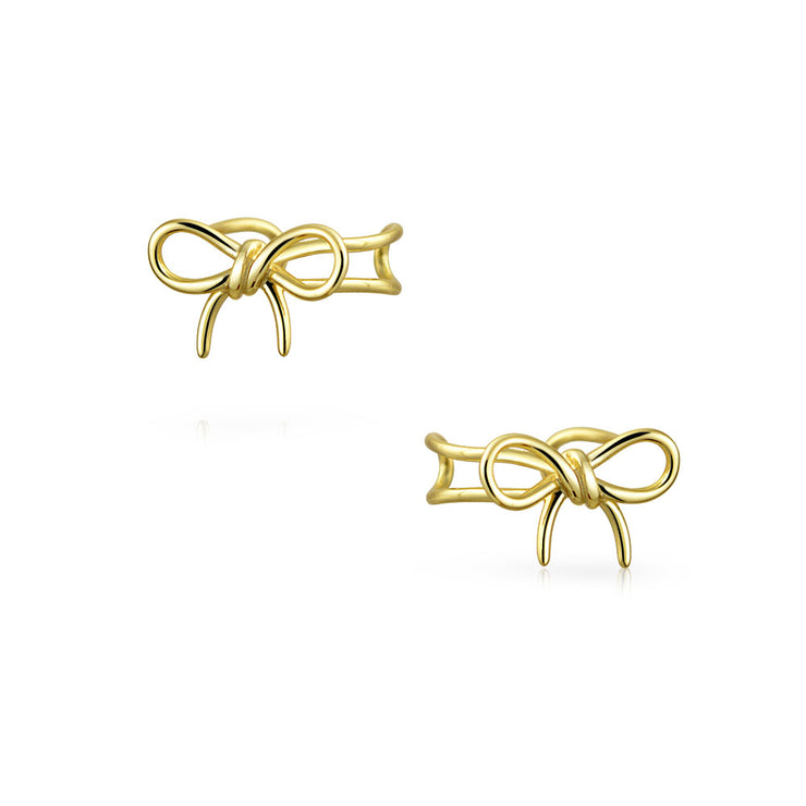 Bow Cartilage Ear Cuff Clip Earring 14K Gold Plated Sterling Silver