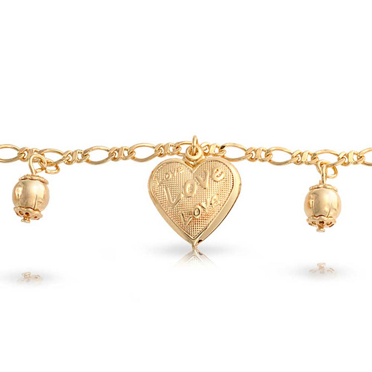 Message Love Hearts Charm Bracelet For Women 18K Gold Plated 7.5 Inch