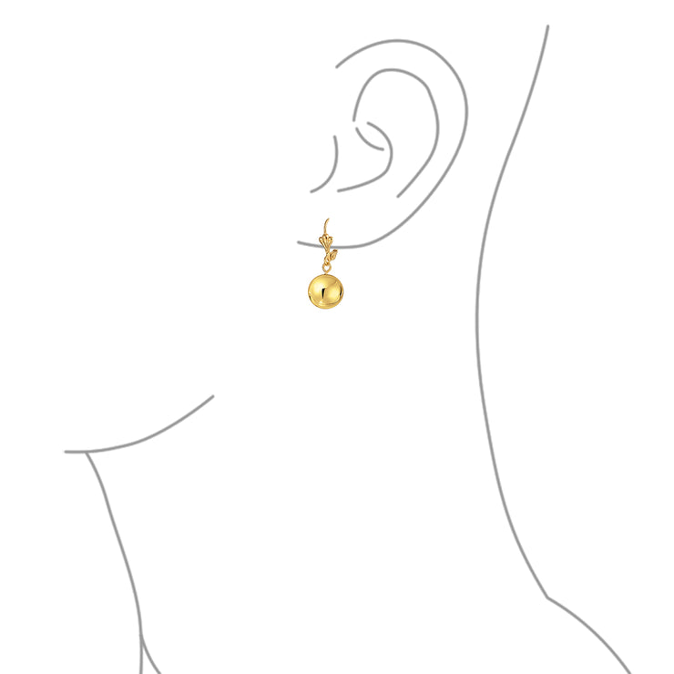Round Dangle Leverback Drop Ball Earrings Shiny Gold Plated