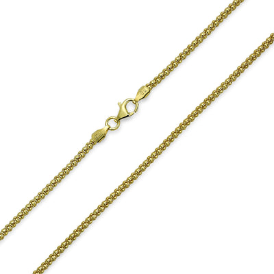 Popcorn Coreana Chain Black Gold Plated Sterling Silver 030 Gauge