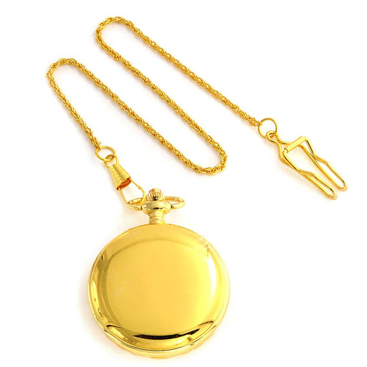 Religious Cross Roman Numeral Dial Pocket Watch Gold Tone Plated Alloy