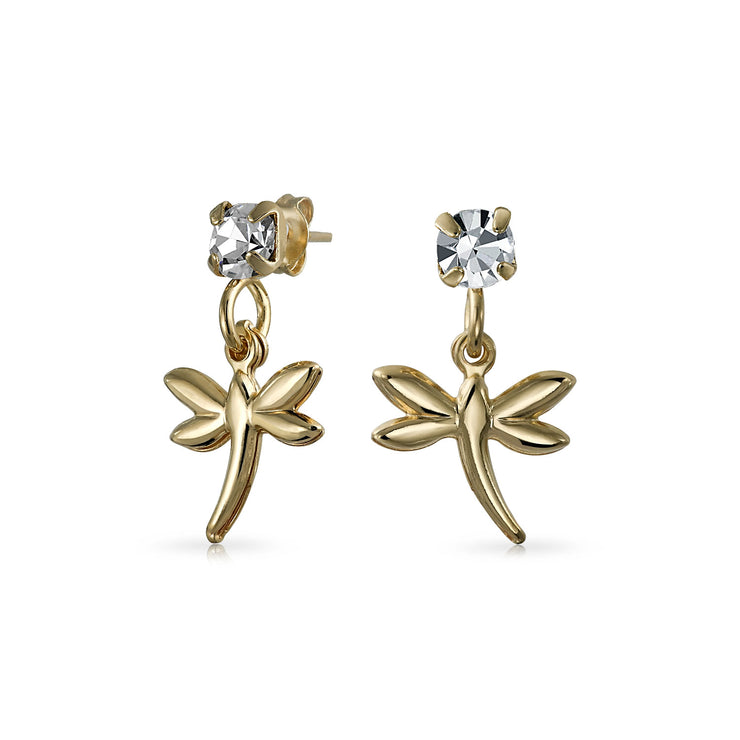 Garden Insect White Crystal Dangle Dragonfly Earrings 18K Gold Plated