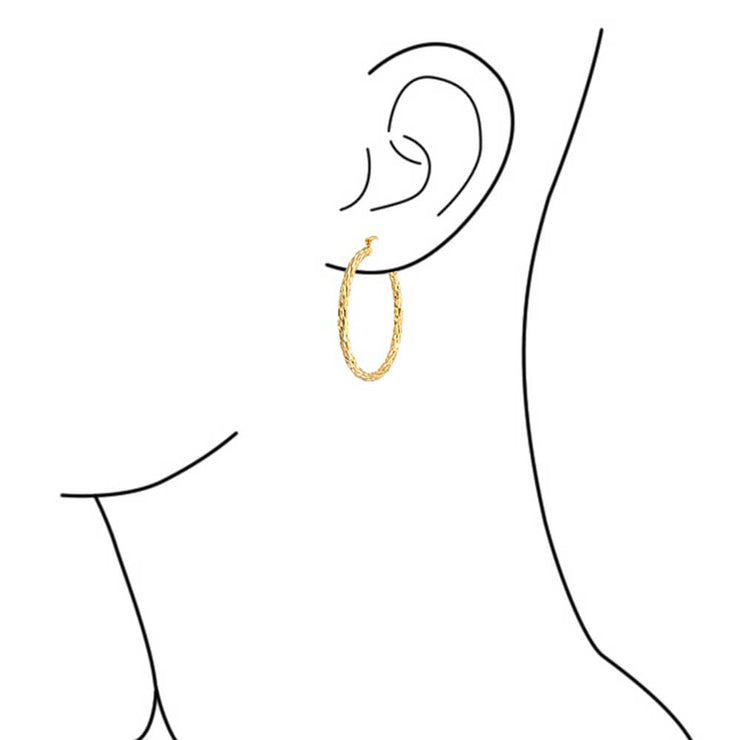 Twisted Rope Cable Large Hoop Earrings Gold Plated 2.25 Inch Dia