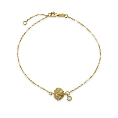 Sea Clam CZ Anklet Ankle Bracelet Gold Plated Sterling Silver